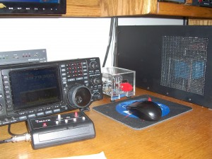 Operating position showing old Icom 756 PROIII
