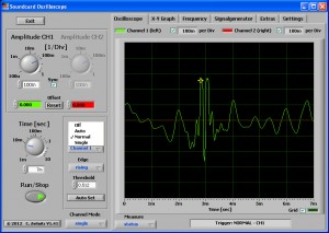 Single freeze frame of RFI pulse as shown by Soundcard Oscilloscope software.
