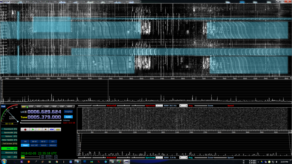 Spectrogram showing RFI across 48 hours of time, and 5 MHz of spectrum.